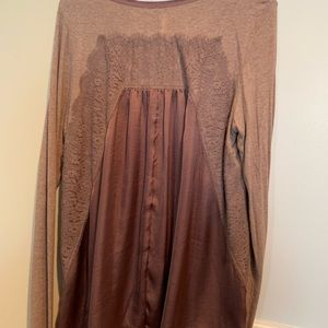 Anthropologie Bordeaux Large Satin/Lace Inset Top